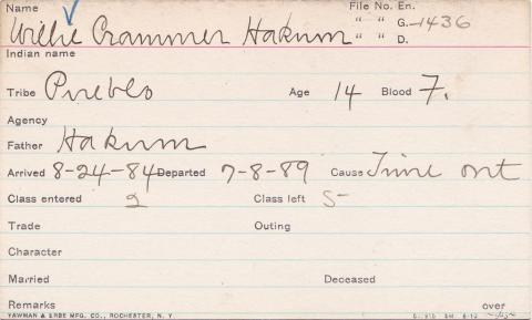 Willie Crammer Hakum Student Information Card