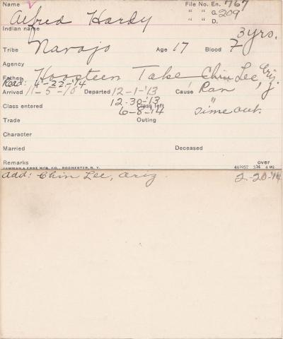 Alfred Hardy Student Information Card