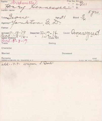 Henry Hennessee Student Information Card