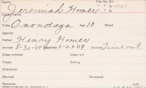 Jeremiah Homer Student Information Card