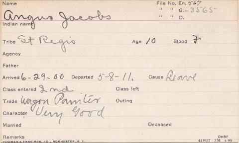 Angus Jacobs Student Information Card