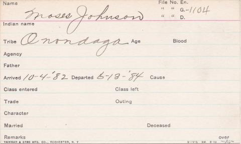 Moses Johnson Student Information Card