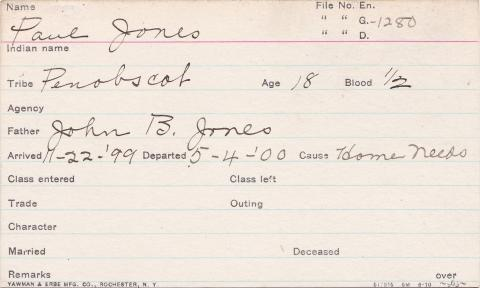Paul Jones Student Information Card