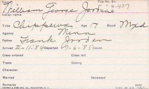 William George Jordan Student Information Card