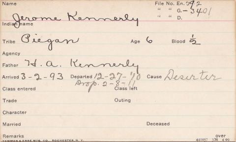 Jerome Kennerly Student Information Card