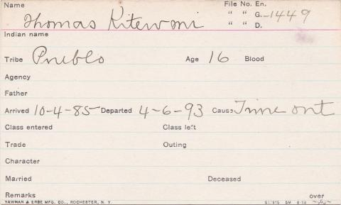 Thomas Kitewmi Student Information Card