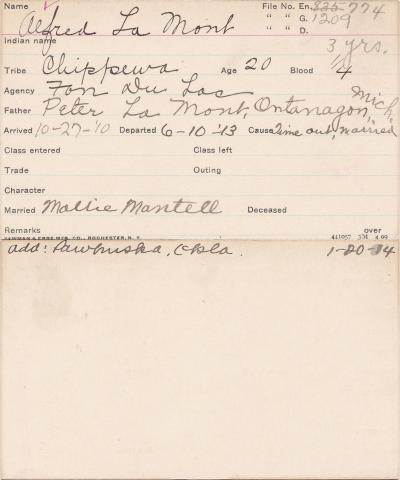 Alfred Lamont Student Information Card