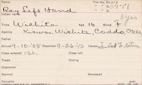 Roy Left Hand Student Information Card
