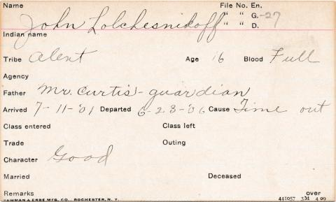 John Lolchesnikoff Student Information Card