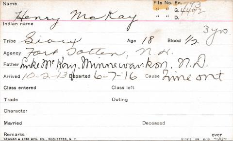 Henry McKay Student Information Card