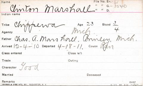 Clinton Marshall Student Information Card