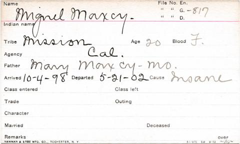 Miguel Maxey Student Information Card