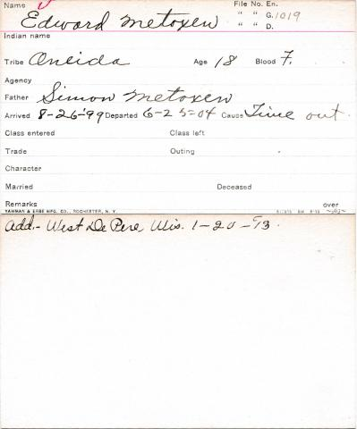 Edward Metoxen Student Information Card