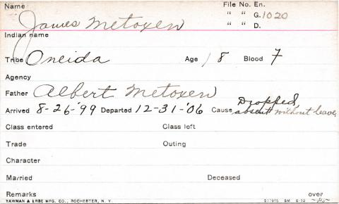 James Metoxen Student Information Card
