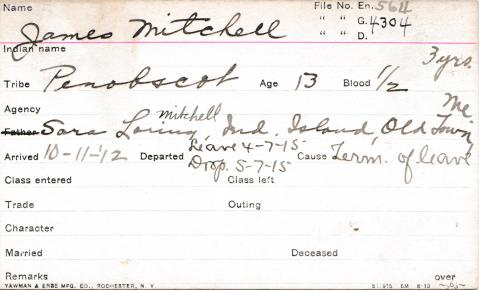 James Mitchell Student Information Card