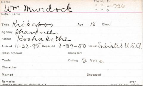 William Murdock Student Information Card