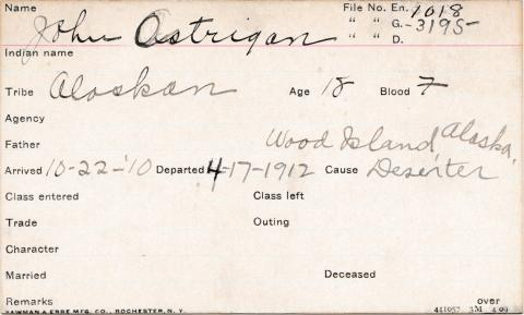 John Ostrigan Student Information Card
