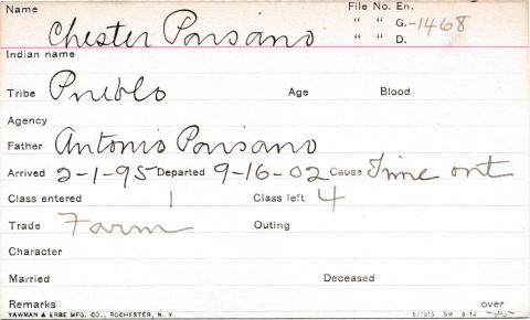 Chester Paisano Student Information Card