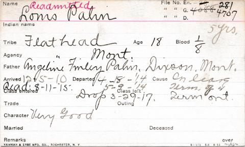 Louis Palin Student Information Card