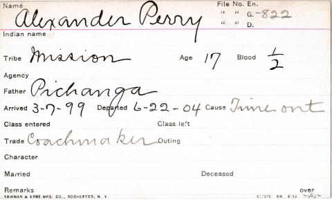 Alexander Perry Student Information Card