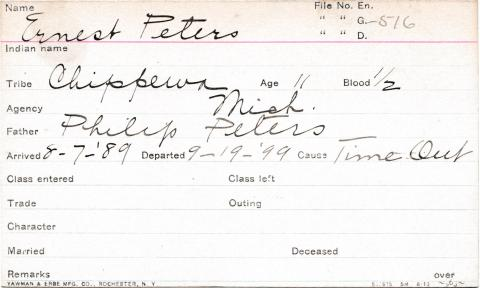 Ernest Peters Student Information Card