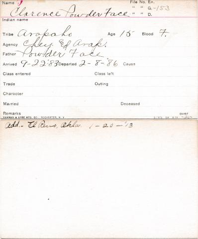 Clarence Powder Face Student Information Card