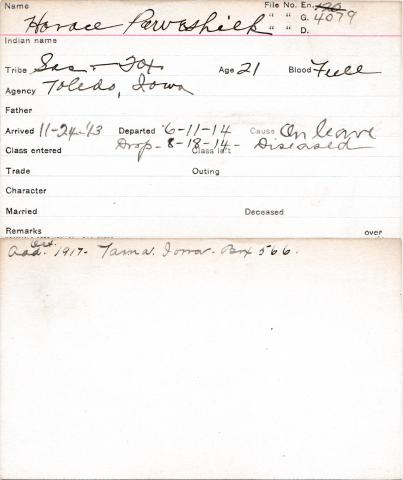 Horace Poweshiek Student Information Card
