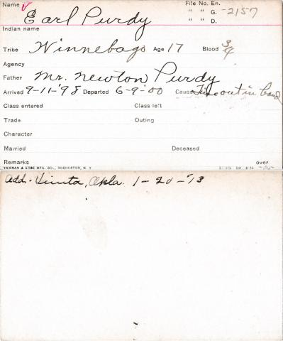 Earl Purdy Student Information Card