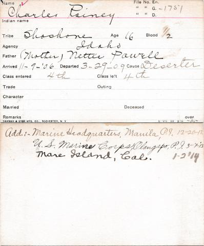 Charles Rainey Student Information Card
