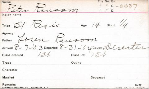 Peter Ransom Student Information Card