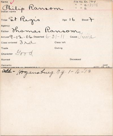 Philip Ransom Student Information Card