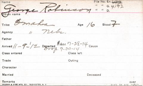 George Robinson Student Information Card