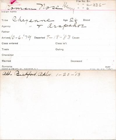 Henry Roman Nose Student Information Card