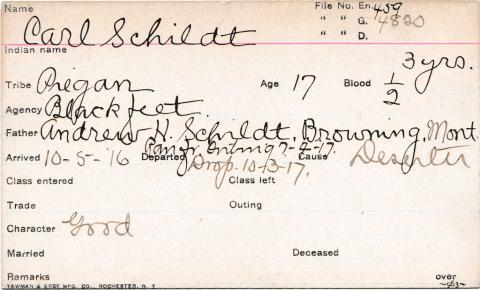 Carl Schildt Student Information Card