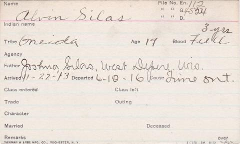 Alvin Silas Student Information Card
