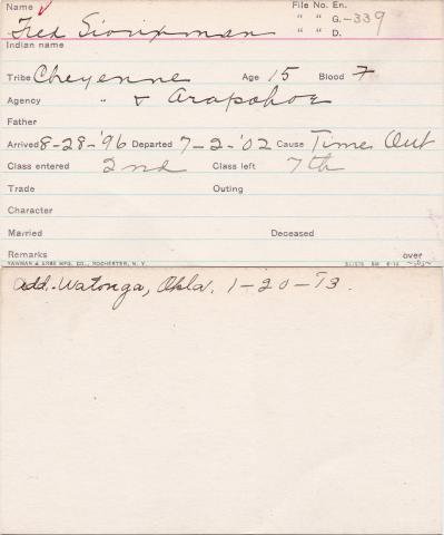 Fred Siouxman Student Information Card