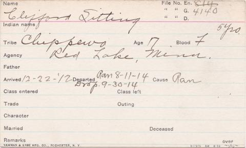 Clifford Sitting Student Information Card