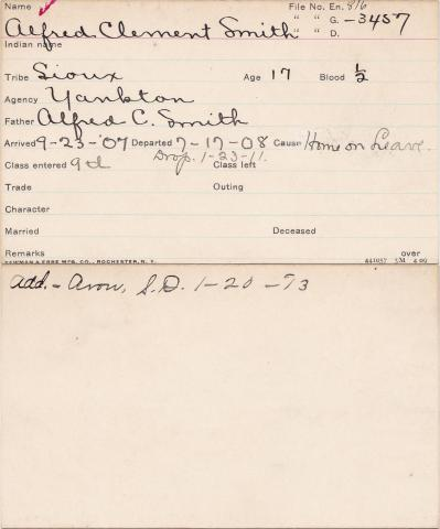 Alfred Clement Smith Student Information Card