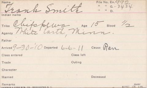 Frank Smith Student Information Card