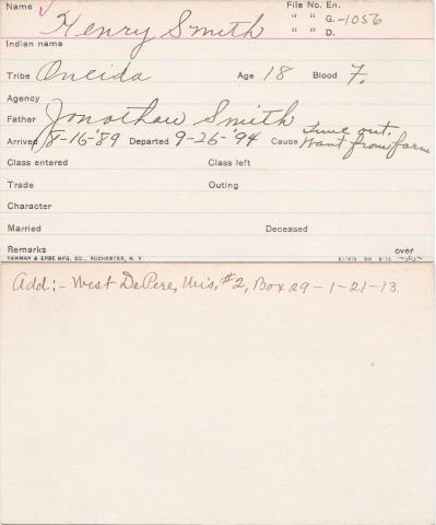 Henry W. Smith Student Information Card