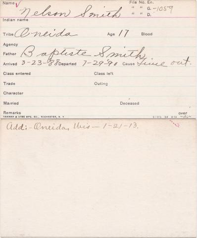 Nelson Smith Student Information Card
