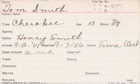 Tom Smith Student Information Card