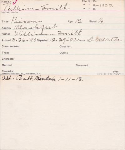 William Smith Student Information Card