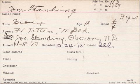 Thomas Standing Student Information Card