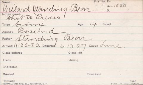 Willard Standing Bear (Shot to Peices) Student Information Card