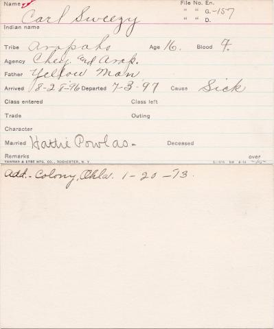 Carl Sweezy Student Information Card