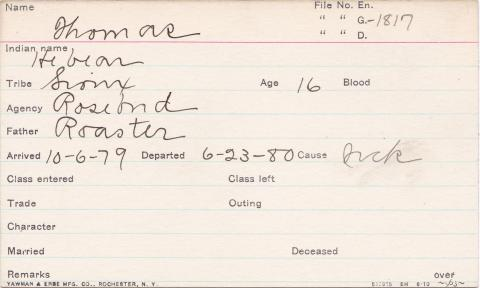 Thomas (He bear) Student Information Card
