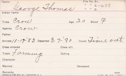 George Thomas Student Information Card