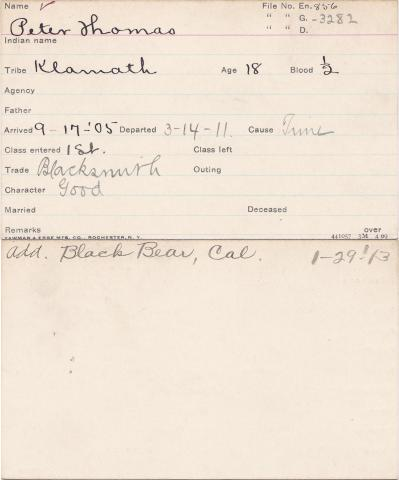 Peter Thomas Student Information Card