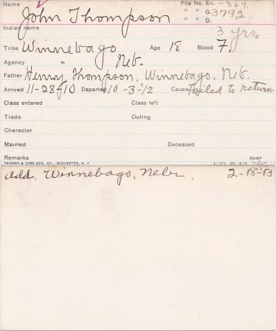 John Thompson Student Information Card